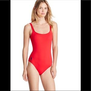 "Sexy Red Polo ""baywatch-style"" one piece swimsuit"